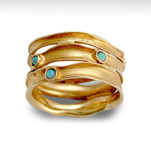 Wedding Band, solid Rose Gold Ring, Stacking bands, Blue Opal Gemstones Ring, 14k Brushed Gold Ring, Wide Gold Band - Rolling stones RG1020S