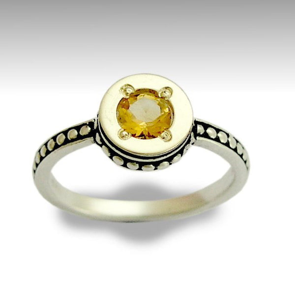 Yellow Citrine Ring, Sterling Silver Ring, Silver Gold Ring, Two Tone Ring, Boho Gemstone Ring, Dots Band, Engagement Ring - Desire R0154X