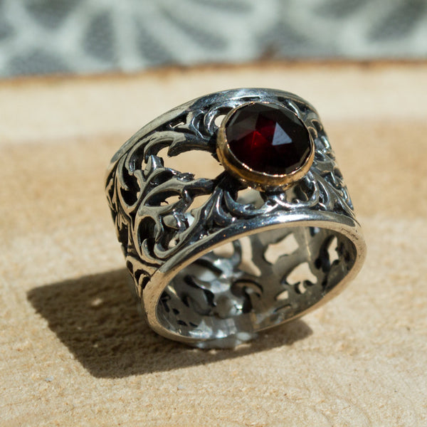 Garnet ring, January birthstone ring, silver gold ring, wide silver band, boho chic jewelry, bohemian jewelry, red stone - Let it go R2057