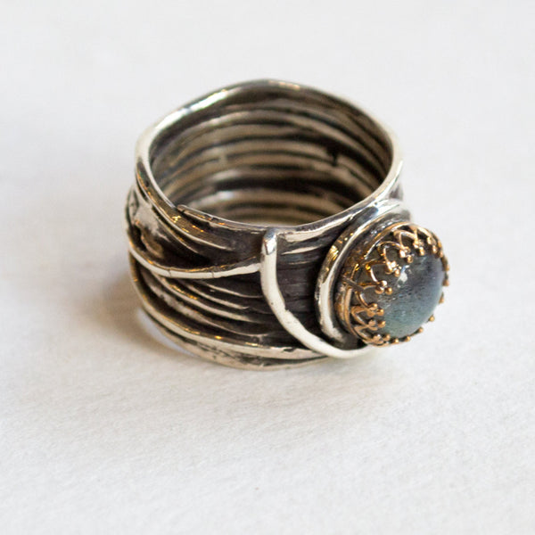 Labradorite ring, crown ring,  wide silver band, rustic ring, gypsy ring, boho ring, silver gold ring, engagement ring - Love Itself R2255