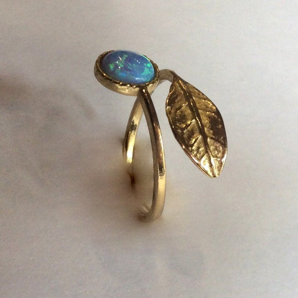 Opal ring, Thin ring, leaf ring, Golden brass ring, adjustable ring, gemstone ring, stack ring, delicate ring - Gone with the wind RK2062-1