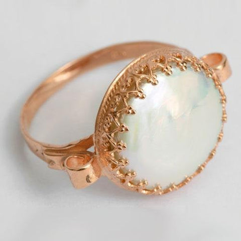 Princess gold crown ring, Solid Rose Gold ring, pearl Ring, engagement ring, 14k rose gold ring, unique engagement ring - Dejav RG1172