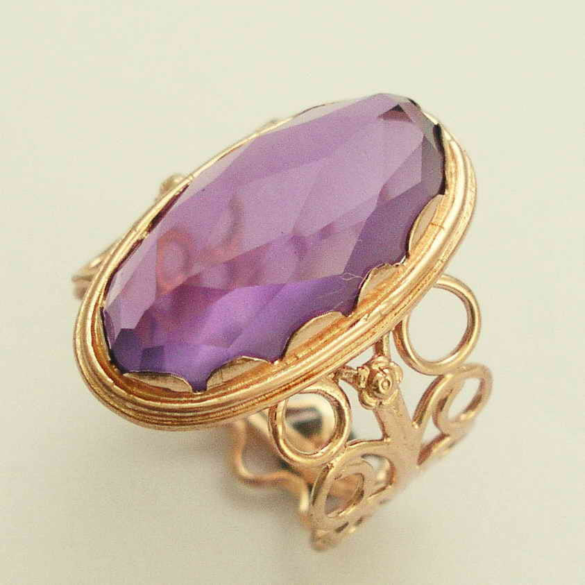 Solid Rose Gold Amethyst Ring, Gemstone ring, February Birthstone ring, Statement ring, Cocktail Ring, Antique Ring - Sunkissed RG1252-6