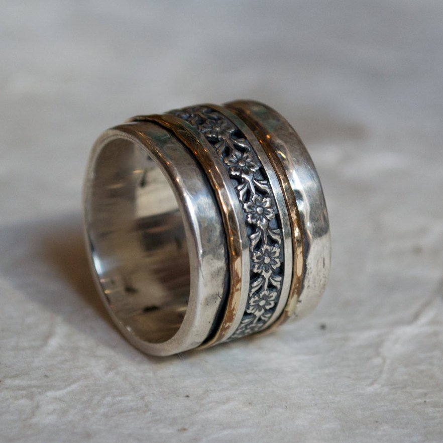 Silver gold ring, spinner ring, woodland ring, meditation ring, wedding band, wide silver band, two tone ring - Calming effect R2071