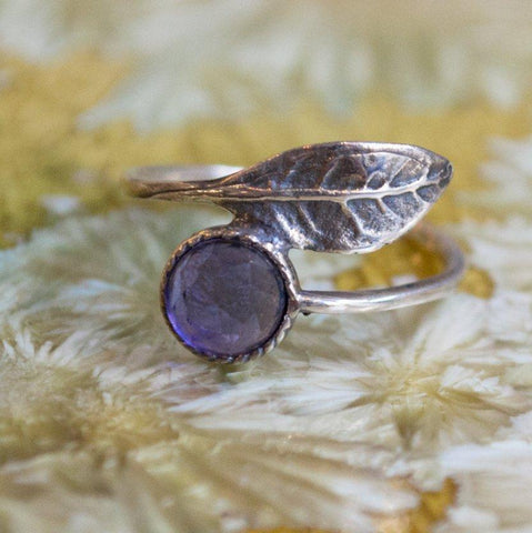 Amethyst Birthstone leaf ring