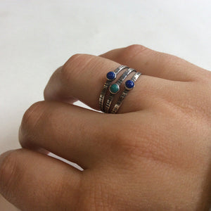 Lapis ring, Mothers day birthstones ring, stacking rings, bohemian silver rings, Gemstones ring, stacking ring - Drop in the ocean R2132