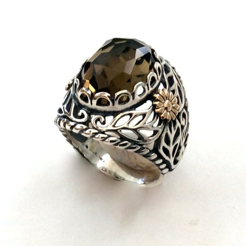 Gold silver ring, boho silver Ring, engagement ring, smoky quartz stone ring, high filigree ring, two toned ring - Sweet song R2166F