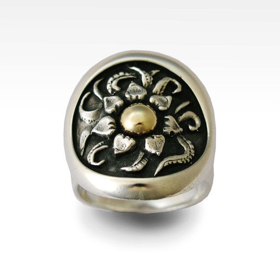 Cocktail ring, Sterling silver ring, statement ring, flower ring, silver gold ring, two tone ring, woodland ring - Sunflower 2 R0149
