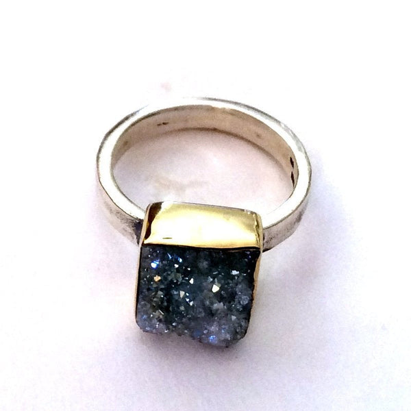 Pyrite ring, Druzy ring, gold silver ring, Two Tones ring, sterling silver ring, engagement ring, Solitaire high ring - Party girl R2177-1