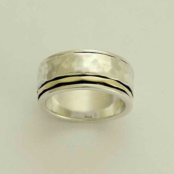 Spinner ring, Mens band, Sterling silver ring, silver rose gold band, unisex band, two tones ring, wedding band, stack rings - I Love R1149F