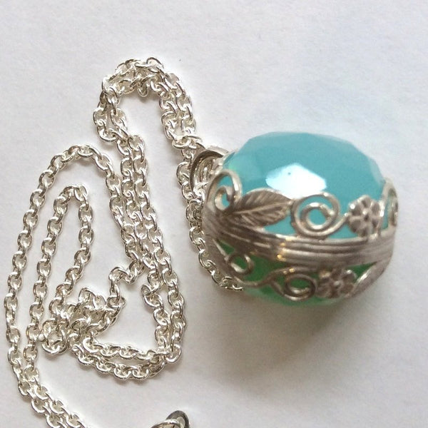 Birth Stone Necklace, Silver Necklace, filigree Necklace, blue Quartz Necklace, Green quartz Necklace, bohemian jewelry  - Spectacular N2000