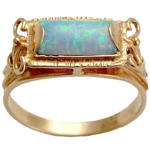 Solid Rose gold Ring, opal ring, engagement ring, blue opal birthstone, October birthstone Ring, stone ring - The sky is the limit RG1400-2