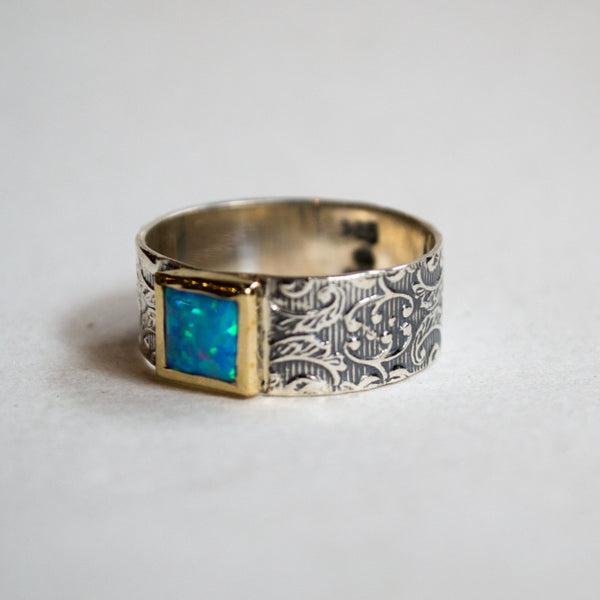 Square opal Ring, twotone Statement Ring, Cocktail Ring, Unique Silver Ring, boho Ring, gypsy ring, Woodland opal Ring - Dream weaver R2271