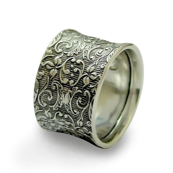 Silver wedding band, filigree ring, Unisex band, oxidized silver ring, Wide ring, botanical band, floral ring  - Our life together R1209S