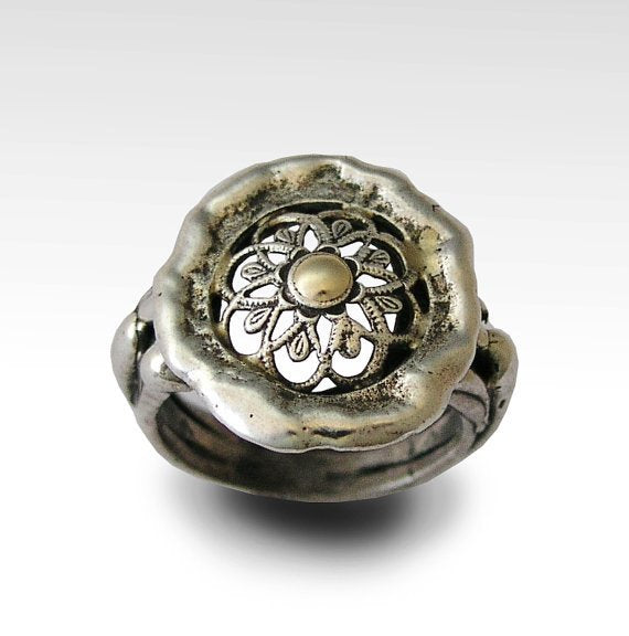 Sterling Silver Ring, organic ring, statement ring, silver gold ring, flower ring, lace ring, casual ring, round silver ring - Delight R1729