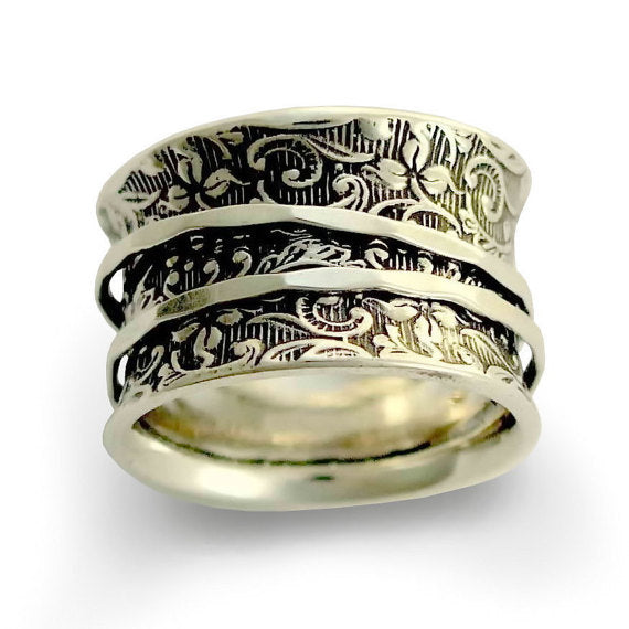 Silver Wedding Band, Sterling Silver Band, Spinners Ring, Filigree Ring, unisex ring, spinning band, oxidized ring - A way of life 2 R1209AS
