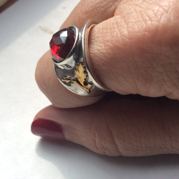 Mixed metals ring, cocktail ring, statement ring, red gemstone ring, garnet ring, silver gold ring, engagement ring - Parties Girl R2242