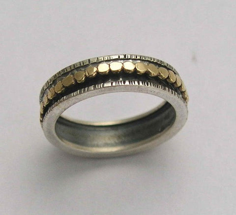 oxidised band Sterling silver ring Silver gold ring thin floral ring spinner ring Simple life R2356 Mixed metal ring wedding band