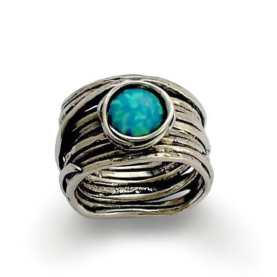 Wide Ring, blue Opal Ring, statement Ring, cocktail Ring, gemstone ring, Alternative ring, Wrap wire Ring - Imagine life in peace R1505