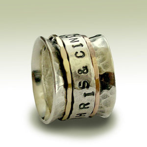 Sterling silver band, personalized spinner ring, gold spinners ring, Two tones ring, wide silver band, wide ring - Let me love you R1739A