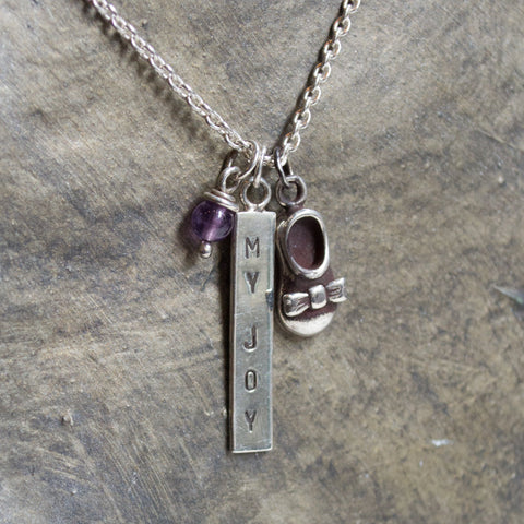 Charms pendant, Baby shower necklace, Hand stamped necklace, shoe necklace, amethyst necklace, mothers necklace, baby shoe - My joy N2013