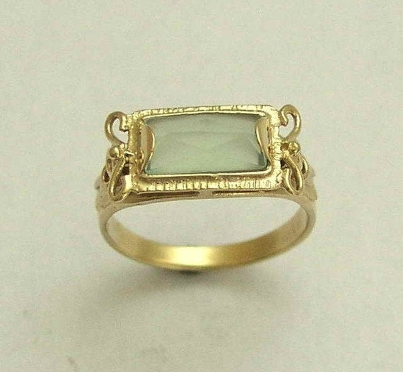 rectangle Jade gemstone ring