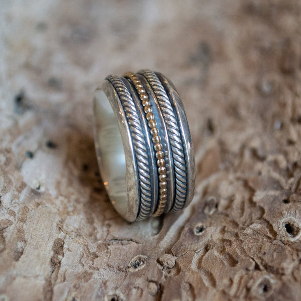 Wedding band, Sterling silver ring, silver  gold band, Shiny ring, two tones ring, wedding band, spinner ring , unisex band - Madness  R2102