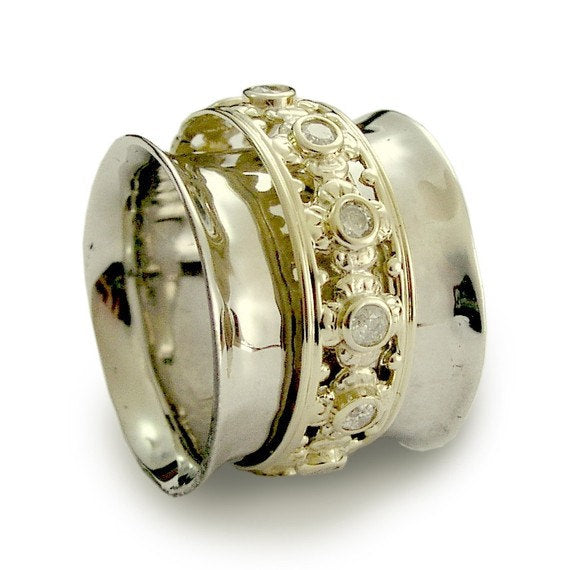 Solid White Gold Band, Gold Spinner, Champagne Diamonds Ring, Wide Gold Ring, White Gold Band, Gold Diamonds Ring - New beginning RG1149XZ