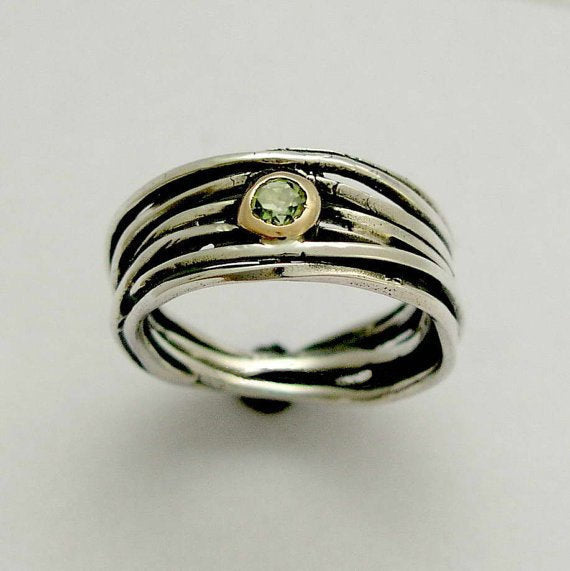 Oxidized Silver Ring with Peridot gemstoneAugust Birthstone Texturized Silver RingPeridot ring Handmade silver ring Gemstone Bezel ring