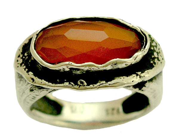 Carnelian ring, rustic ring, Sterling Silver ring, Oxidized Ring, orange gemstone ring, statement ring, cocktail ring - Sunset R1478X-1