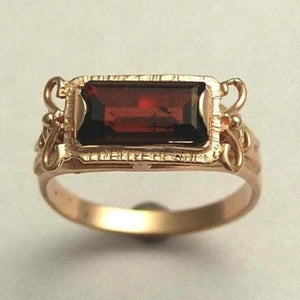 Solid Rose Gold Garnet Ring, rectangle stone ring - The sky is the limit RG1400-2