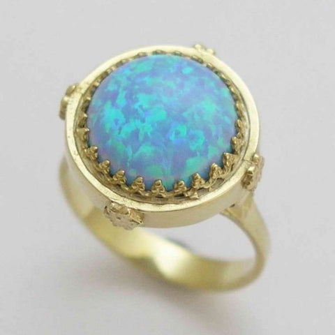 Solid gold opal ring, cocktail ring, 14k yellow gold engagement ring, gemstone ring, crown ring, Victorian ring - Something blue RG1247-1