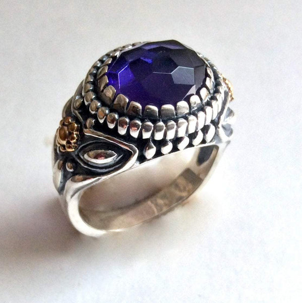 Amethyst statement two tone ring