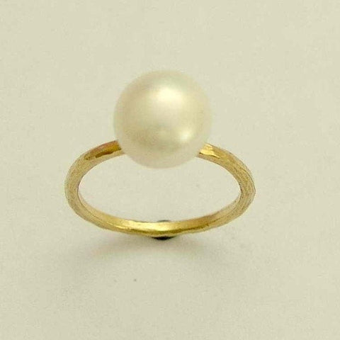 Solid yellow gold pearl ring, engagement ring, single pearl ring, peach pearl ring, black pearl ring, white pearl ring - Young Love RG1533