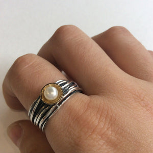 Pearl ring, alternative engagement ring, Engagement ring, Silver gold ring, boho ring, gold cap ring, wire wrap ring - Live with me R2128