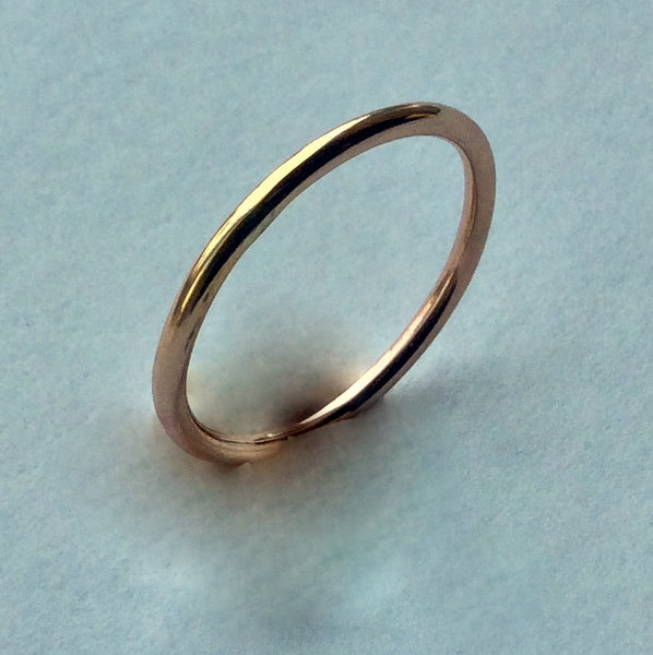 Gold wedding band, dainty gold filled band, stacking band, simple gold band, gold ring, unisex ring, wedding band - I Will Follow R2230