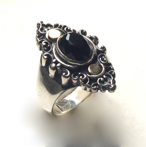Black onyx ring, Gemstone ring, Gypsy jewelry, mixed metals ring, boho chic ring, bohemian ring, Tibetan ring, unique ring - Black sky R2245