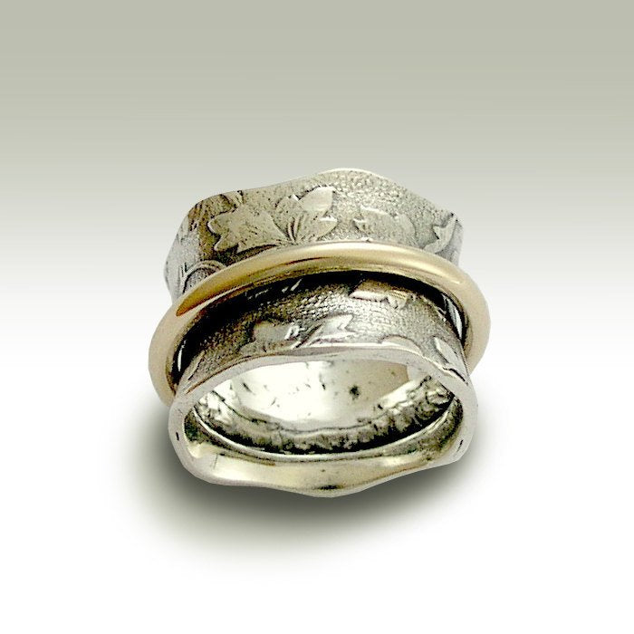 Silver Wedding Band Spinner Ring Gold Filled Spinner Ring Leaves Band Wide Silver Band Boho Wedding Band Nothing Else Matters R1736a