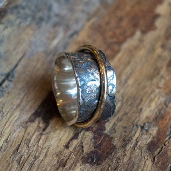 Silver wedding band, spinner ring, gold filled spinner ring, leaves band, wide silver band, boho wedding band- Nothing else matters R1736A