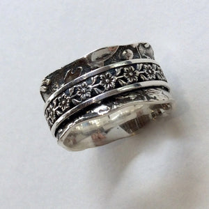 Wedding band, oxidized band, floral band, wide band, sterling silver Band, spinner ring, meditation ring, silver gold ring - Otherwise R2134