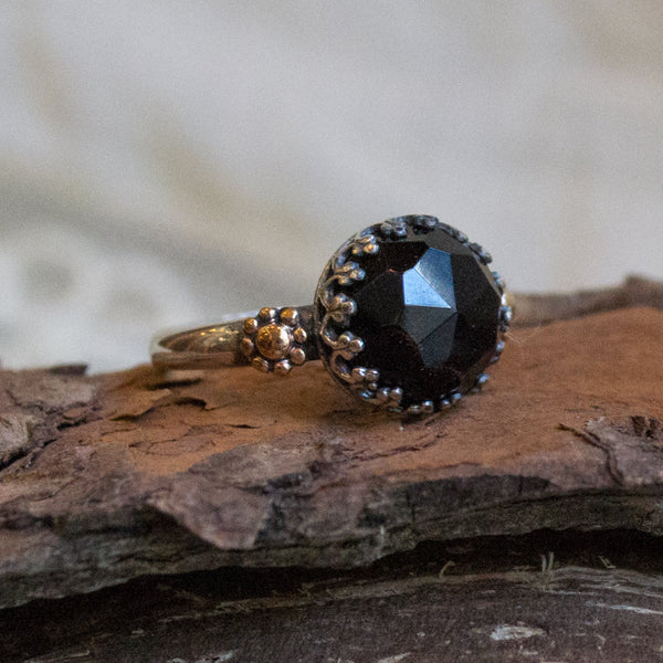 Onyx Ring, gemstone ring, silver gold ring, gypsy ring, boho ring, bohemian ring, boho chic jewelry, crown ring - Lost in legend R2258