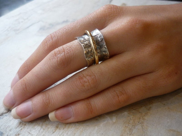 Silver gold ring, wide band, botanical band, gold ring, meditation ring, leaf band, silver wedding band - Nothing else matters, R1736A