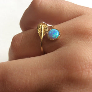 Opal ring, boho ring, leaf ring gold, nature ring, adjustable ring, vine ring, twig ring, thin branch ring - Gone with the wind RK2062-1