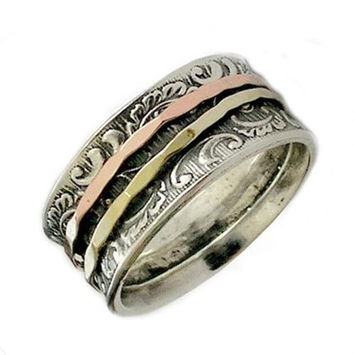 Wedding Band, Silver Gold Ring, Sterling Silver Ring, Spinner Band, Gold Spinners, Wedding Ring, Bohemian jewelry - Ghost of my joy R1733A