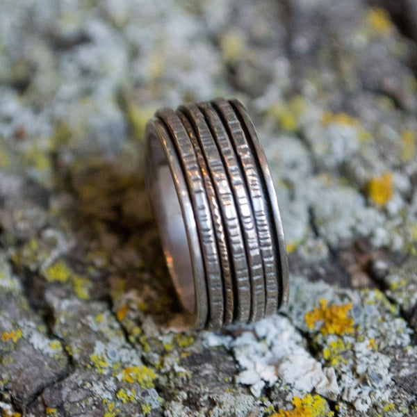 Silver Wedding Band, Sterling Silver Ring , Meditation Ring, Silver Gold Spinner, Unisex Ring, Fidget Ring - After all this time R1149B