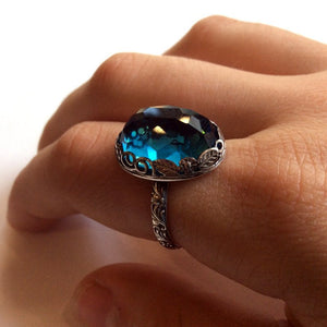 London blue topaz ring, Birthstone Silver ring, statement ring, cocktail ring, floral ring, crown ring, london topaz ring - Seduction R2149