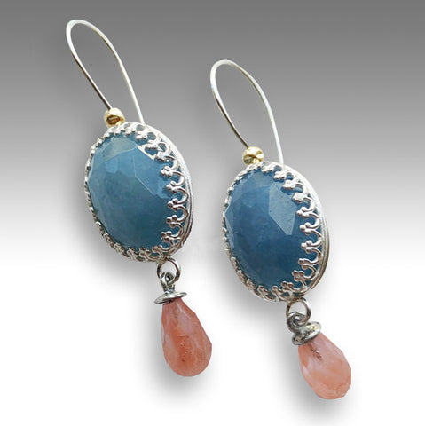 Aquamarine cherry quartz Drop earrings