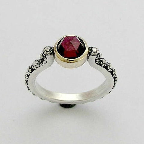 Nature ring, silver engagement ring, garnet ring, stone ring, dainty ring, stacking ring, silver gold ring, two tone - Your passion R0166Z