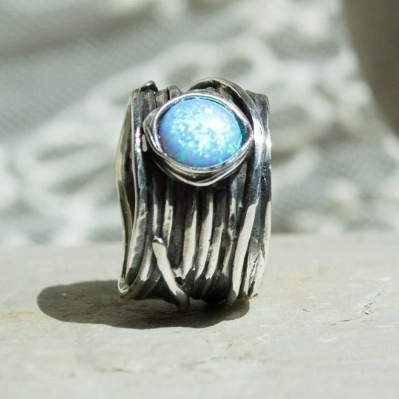 Sterling Silver Ring, Blue Opal ring, Gemstone Ring, Wide boho Ring, Wrap Ring, Stone Ring, Wide Silver Band- Imagine life in peace 3 R1505