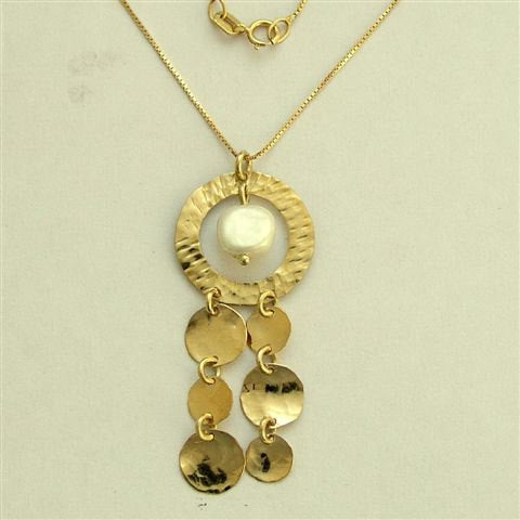 Solid Yellow gold necklace, fresh water pearl necklace, chandelier gold pendant, discs dangle necklace - Elegance is an attitude. NG4469-1